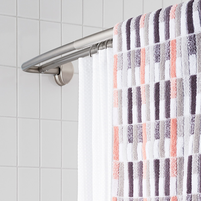 Bump-out double shower rod.
