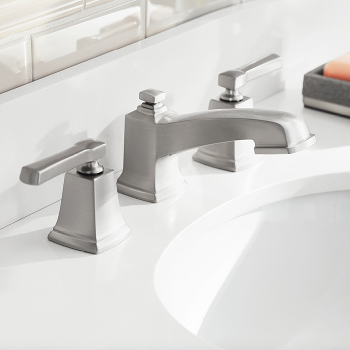 Brushed-nickel faucet.